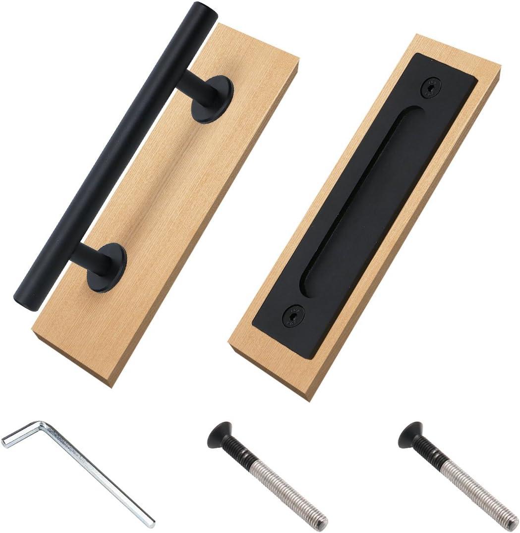 Juego de tirador y tirador de puerta corrediza para puerta de granero de doble cara, para puertas de metal y madera, para puertas de cocina, armario, armario y cajón, negro