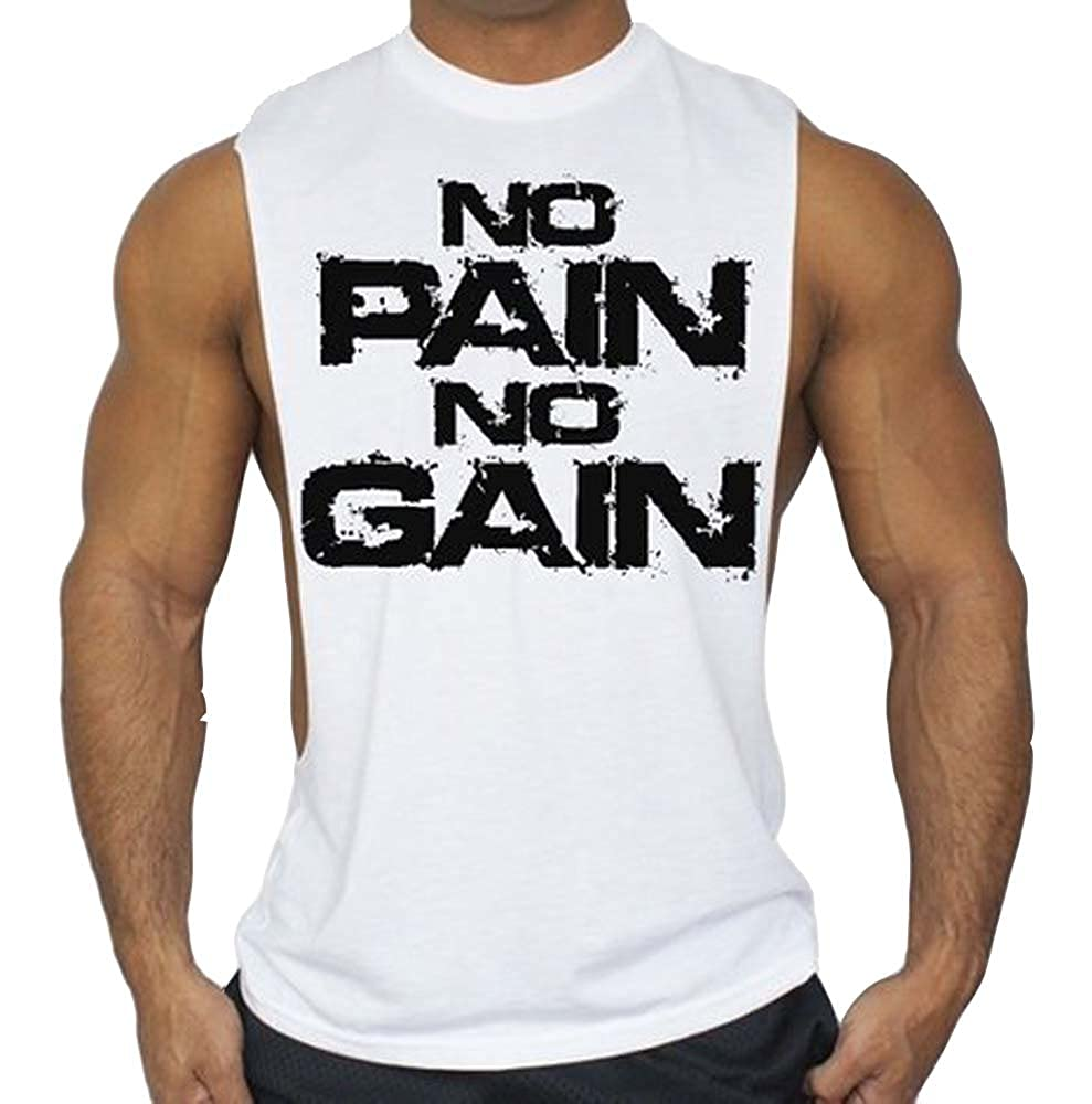 5749fcb43367d Top3  Interstate Apparel Inc No Pain No Gain Workout T-Shirt Bodybuilding  Tank Top White S-3XL