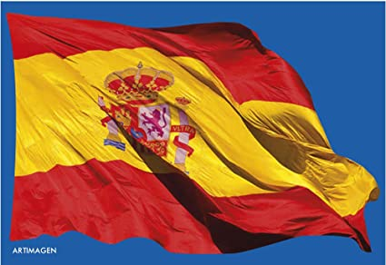Postal Bandera de España ondeando 16x11 cm.: Amazon.es: Oficina y papelería