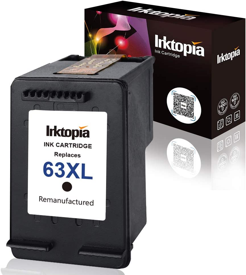 Inktopia Remanufactured for HP 63XL Ink Cartridges 1 Black, High Yield and Ink Level Display Used in HP Officejet 3830 3831 4650 for HP Envy 4512 4516 4520 Deskjet 1112 2130 3630 3633 3634 Printer