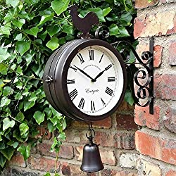 Taimot Wrought Iron Round Wall Hanging Clock Double Sided Two Faces Retro Station Clock Cock Bell Shape Wall Hanging Clock for Garden Home Décor