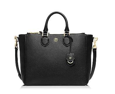 786f327f05e Amazon.com: New With Tag Tory Burch Robinson Pebbled Square Tote Black handbag  bag purse Retail Price 550: Shoes