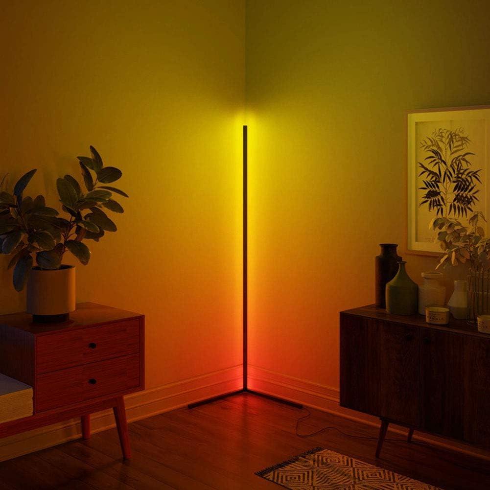 Xianfei Corner Floor Lamp Nordic Decoration Home Floor Lamps for Living Room Night Light Dimming Standing Lamp Bedroom Decor Floor Light, RGB Remote Control Discoloration,Black