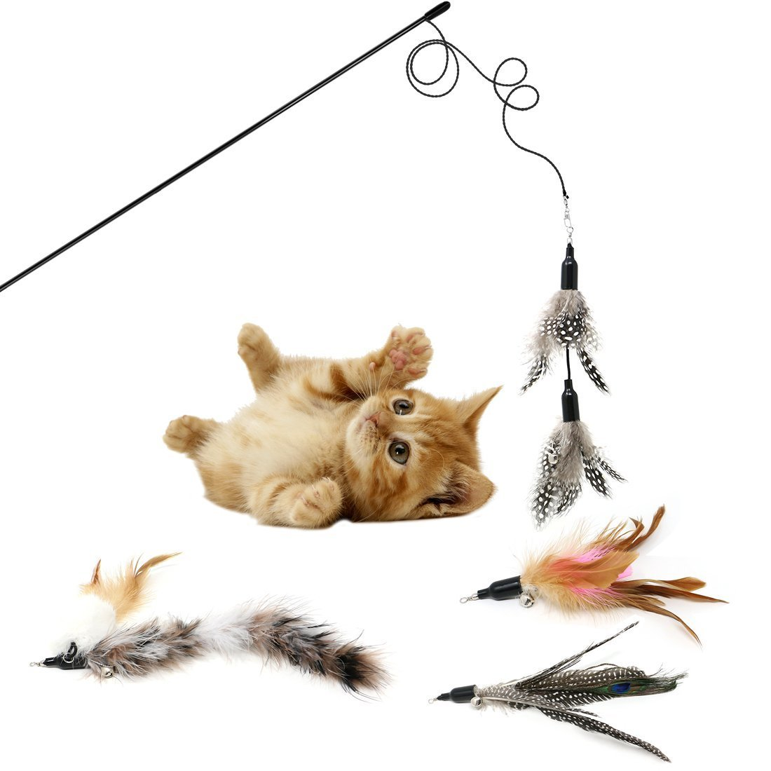 KEKH Feather Wand Cat Toy (Includes 5x Feather Refills), these Natural Feathers are Guaranteed to Drive Your Cat Wild