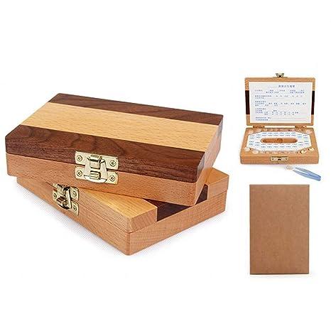 CHSEEA - Caja multifunción para guardar los dientes del bebé, cajas de madera, caja