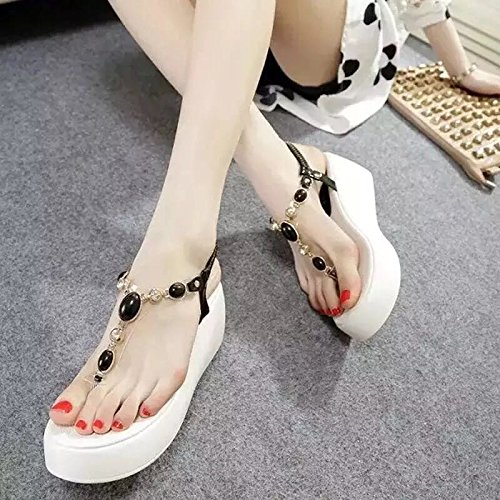 Mujer ZHANGJIA Tacones Y Y Sandalias Dedo De Muffin De Casuales Zapatos Puntera Black Suela rIIqxwSz