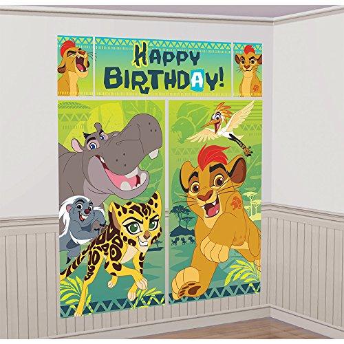 Amscan Disney The Lion Guard Scene Setters Wall Decorating Kit, Birthday -
