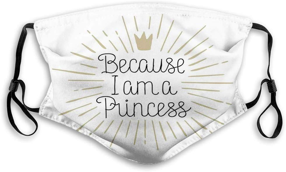 YYTT8 Gesichtsschutz Mundschutz Nasenschutz Wiederverwendbar Waschbar Gesichts Schals Mit Filtern Weil ich eine Prinzessin Kalligraphie-Beschriftungskrone Bin