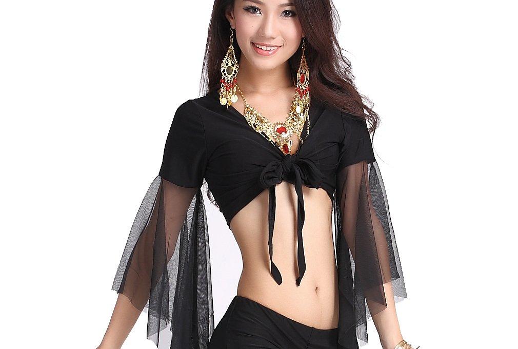 ZLTdream Lady's Belly Dance Mesh Bandage Top Black