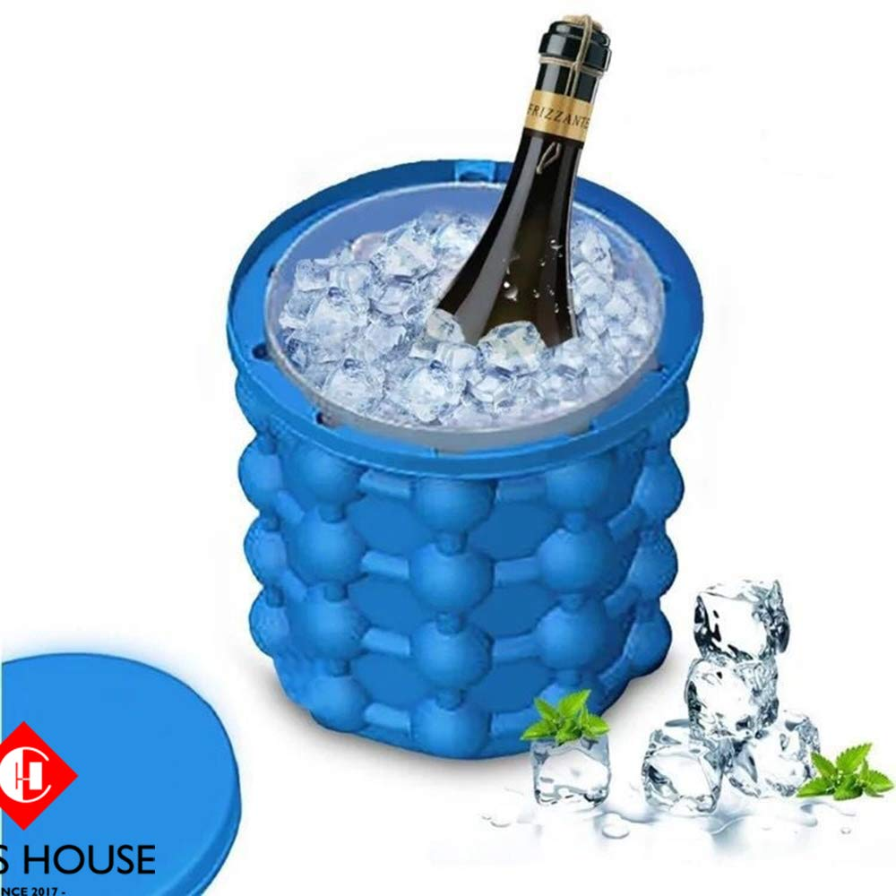 Ice Bucket, Large Silicone Ice Bucket, Iride Large 2 in 1 Silicone Ice Bucket, Ice mold with lid, Portable Silicon Ice Cube Maker - by Chip's House (Large)