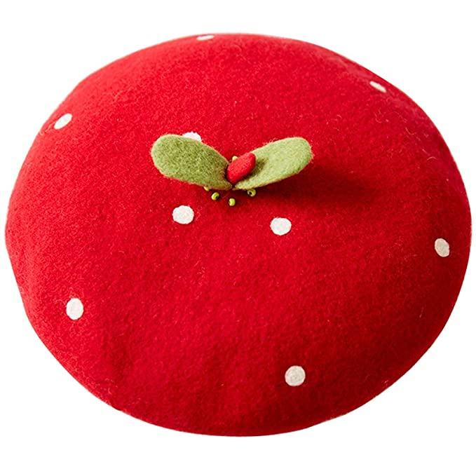212e284944c Amazon.com  Handmade Kawaii Red Strawberry Beret Vintage Artist Painter Hat  Women Wool Cap Warming Gift  Clothing