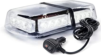 White /& Blue Xprite High Wattage Gen 3 Security Law Enforcement Emergency LED Mini Roof Top Strobe Light Bar with Magnetic Base