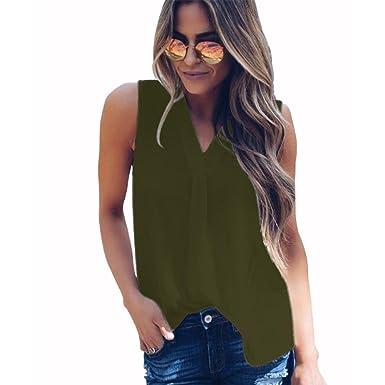 afc56042be086 BigButer Women s Casual V Neck Sleeveless Chiffon Tank Tops Loose Blouse T  Shirt Army Green