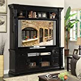 Entertainment Center Constructed of Veneers and Solid Wood Rear Cord Management Oversized Crowns and Moldings Antique Iron Hardware Two Drawers Magnetic Door Catches Cable Management