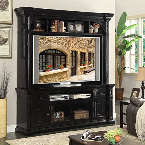 Entertainment Center Constructed of Veneers and Solid Wood Rear Cord Management Oversized Crowns and Moldings Antique Iron Hardware Two Drawers Magnetic Door Catches Cable Management by GAShop