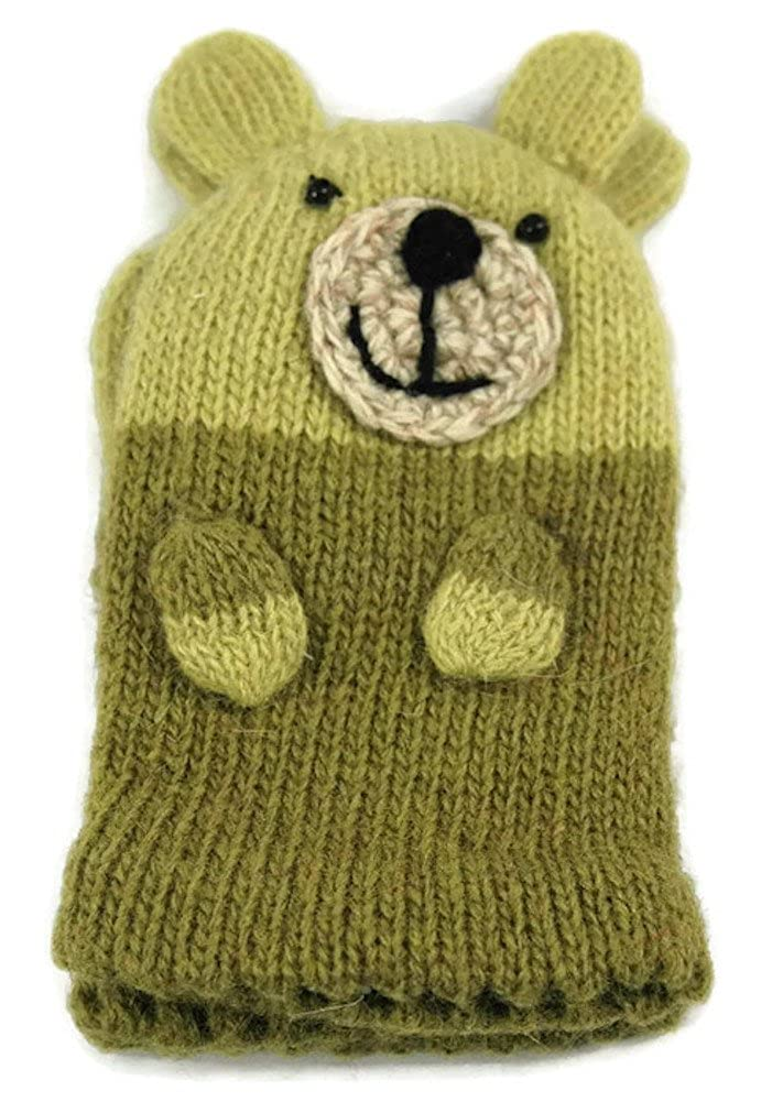 Twos Company Teddy Bear Green Kids Mittens