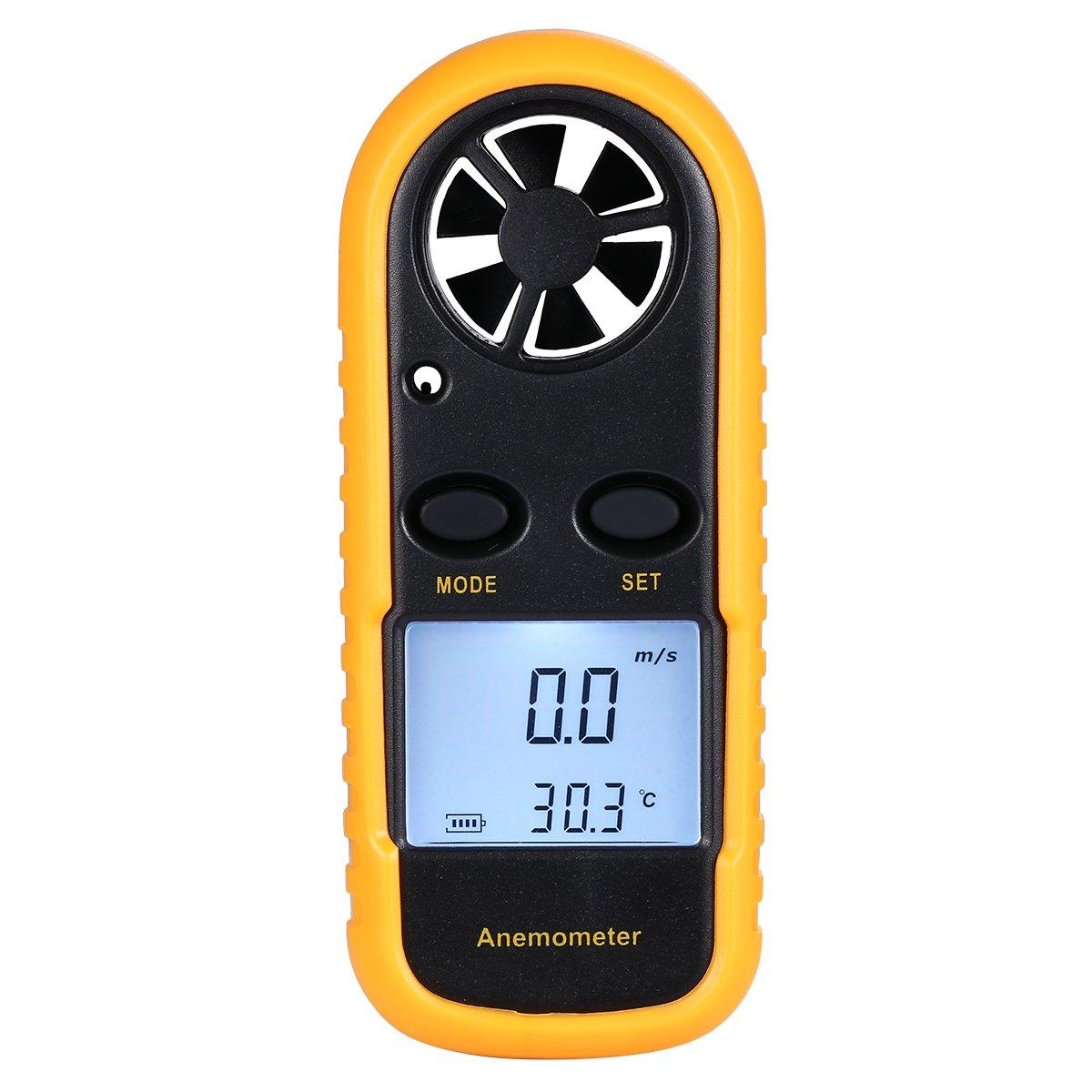 Mseng handheld anemometer miniature digital lcd wind speed measuring instrument digital thermistor air speed measurement of wind and air in sailing boat etc
