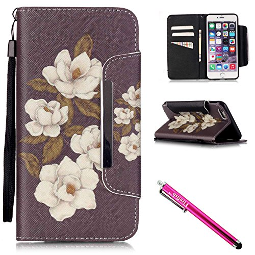iPhone 5S Case, iPhone 5 Wallet Case, Firefish [Card Slots] [Kickstand] Flip Folio Wallet Case Synthetic Leather Shell Scratch Resistant Protective Cover for Apple iPhone 5/5S/SE-Begonia