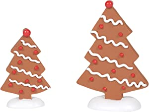 Department 56 Village Collection Accessories Gingerbread Trees Figurine Set, Various Sizes, Multicolor