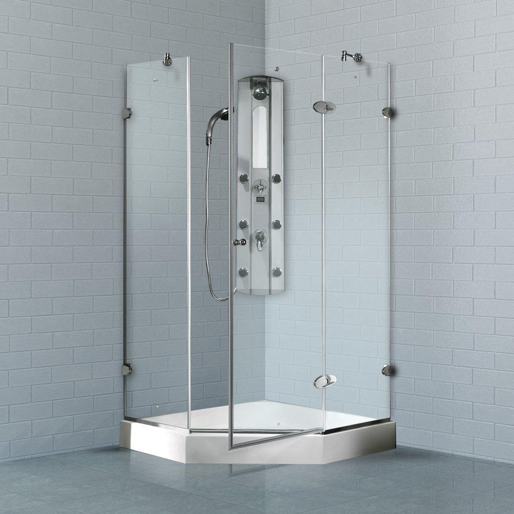 VIGO Verona 42 x 42-in. Frameless Neo-Angle Shower Enclosure with ...