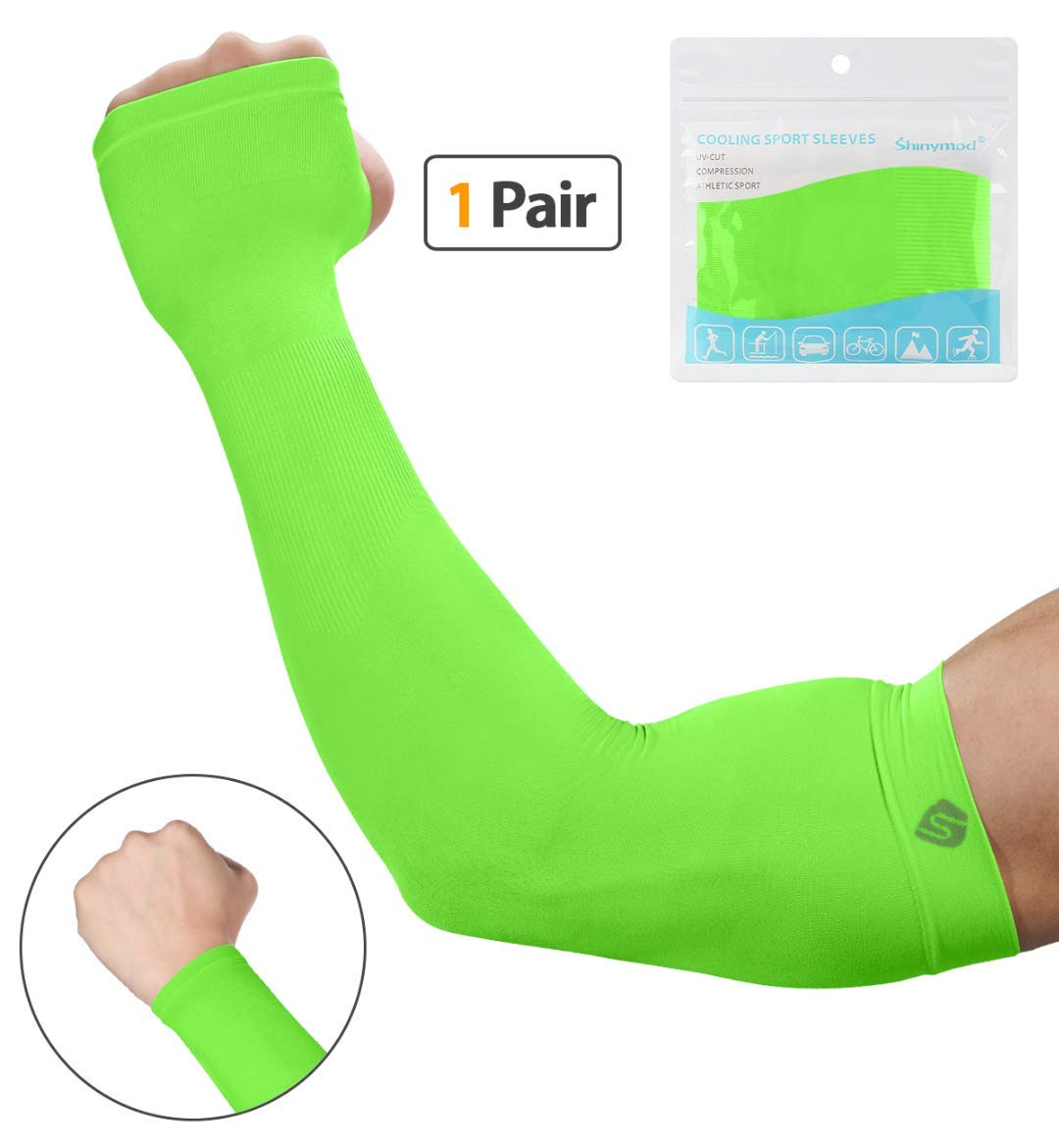 SHINYMOD UV Protection Cooling Arm Sleeves Men Women Sunblock Cooler Protective Sports Running Golf Cycling Basketball Driving Fishing Long Arm Cover Sleeves by SHINYMOD