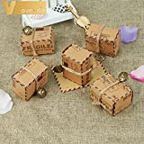Lavenz 50 pcs Vintage Favors Kraft Paper Candy Box Travel Theme Airplane Air Mail Gift Packaging Box Wedding Souvenirs scatole regalo