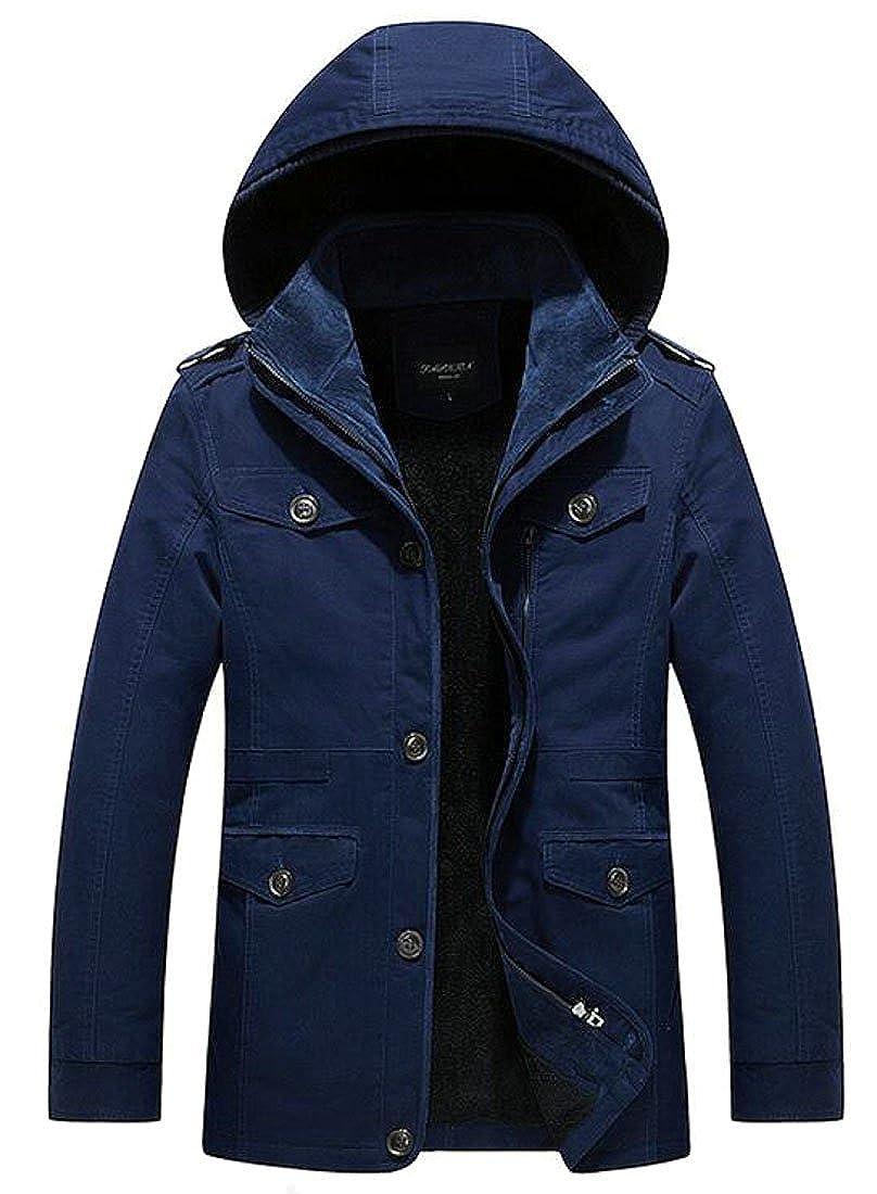 Hokny TD Men Winter Thicken Fleece Lined Outwear Coat Jacket With Hoodie