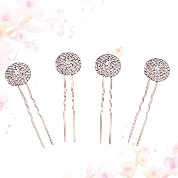 Amazon.com : Lurrose U Shaped Hairpins Wavy Hair Bobby Clips Vintage Crystal Hair Stick for Women and Girls 4pcs : Beauty