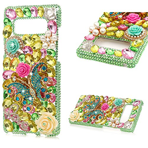 Maviss Diary Note 8 Case, Luxury 3D Handmade Bling Crystal Rhinestone Diamonds Green Glitter Pearl Floral Butterfly Fashion Hard PC Clear Protective Cover for Samsung Galaxy Note 8