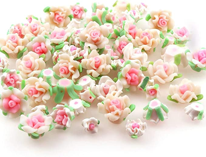 New 20pcs Mixed Gorgeous Rose Flower Clay Resin Spacer Loose Beads Jewelry Gifts