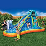 Inflatable Water Slide - Huge Kids Pool (14 Feet Long by 8 Feet High) with Built in Sprinkler Wave and Basketball Hoop - Heavy Duty Outdoor Surf N Splash Adventure Park - Blower Included