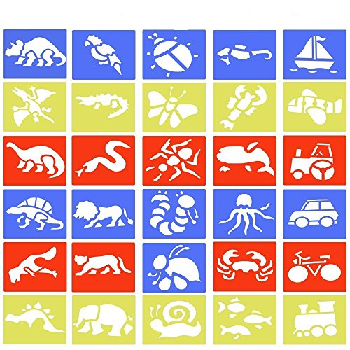 30Pcs Stencils Drawing, BUZIFU Stencils Children Plastic Painting Craft Stencil Model Animals/Insects/Transport and Dinosaurs (5 Different Types 14 15cm)