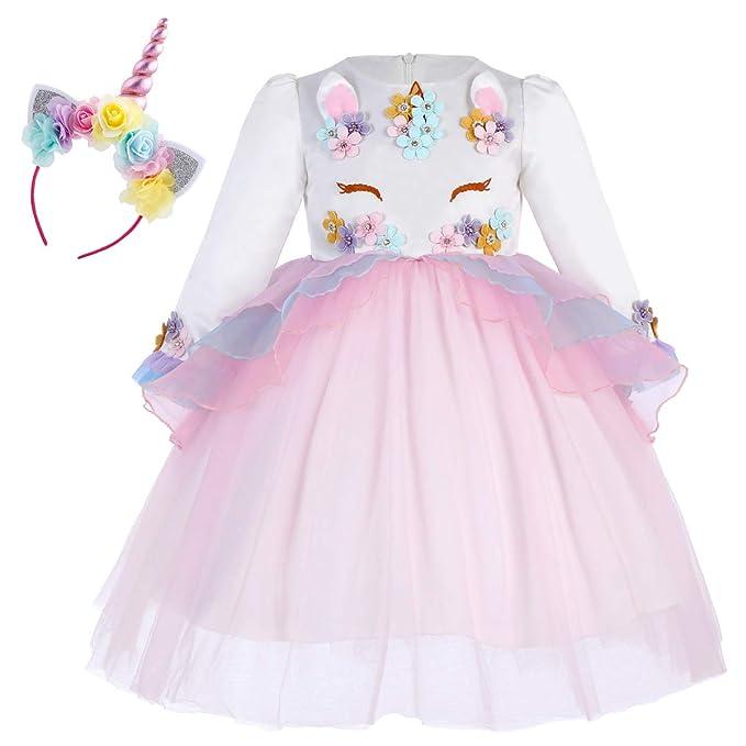 OBEEII Vestido Unicornio Disfraz Carnaval con Unicorn Cuerno Diadema Traje de Princesa para Halloween Navidad Fiesta Ceremonia Aniversario Cosplay ...