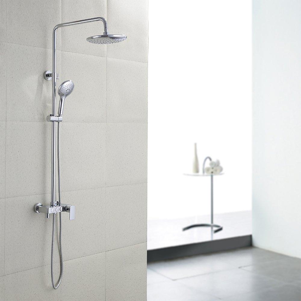 KES European Style Bathrube & Shower System Push Button Rainfall ...