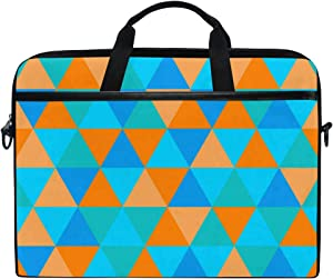 Waterproof Laptop Case for 15 Inch Notebook Computer Shoulder Bag Sleeve Triangle Pattern Orange and Blue Protective Briefcase Protable