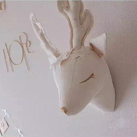 Blanc Tête De Cerf à Accrocher Décoration Murale De Chambre Denfant