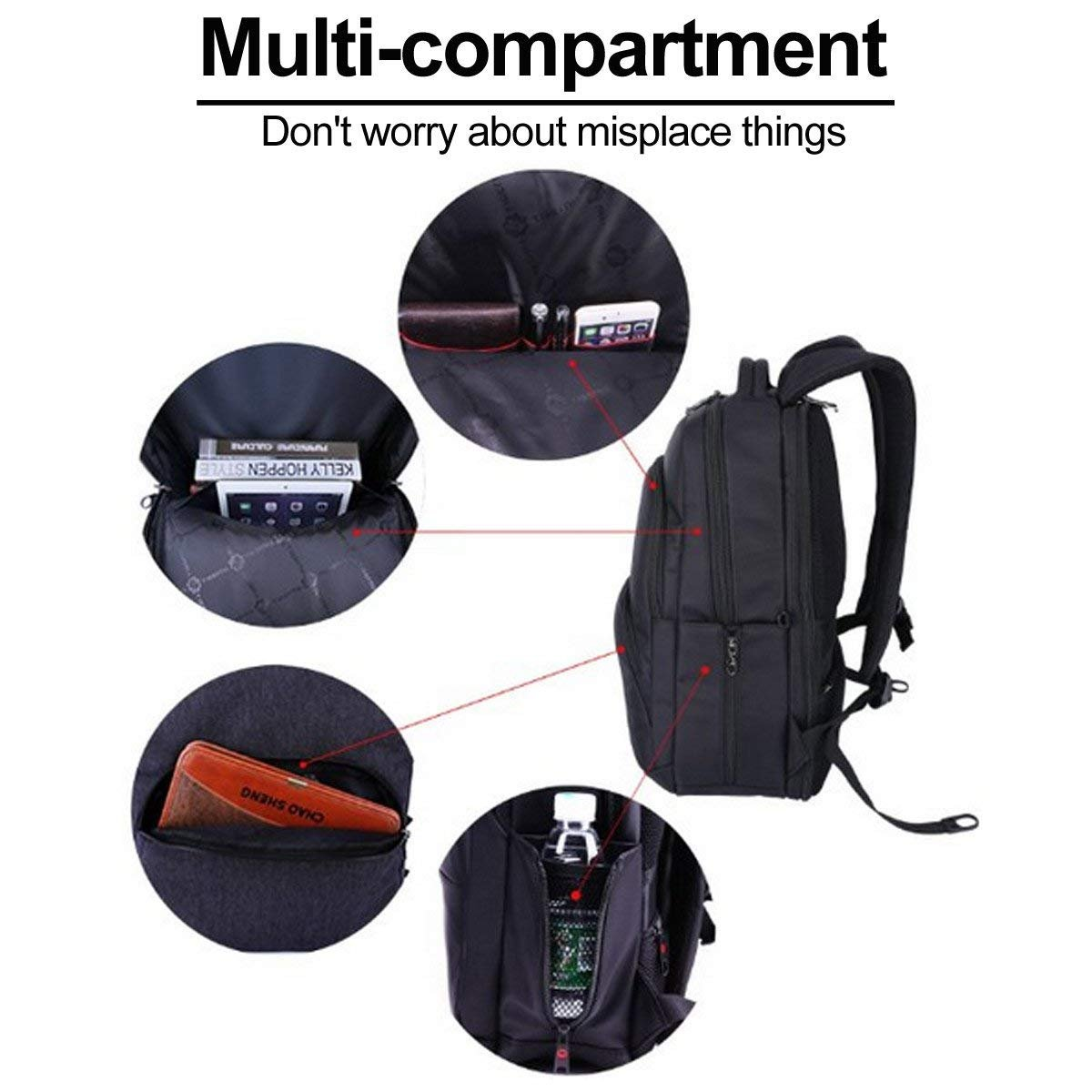Sino Banyan 17 Inch Laptop Backpack for Men,TSA Friendly,Black