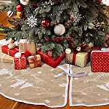 Hokic 48 inch Burlap Christmas Tree Skirt Merry Christmas Snowflake Jute Tree Skirt for Christmas Decorations
