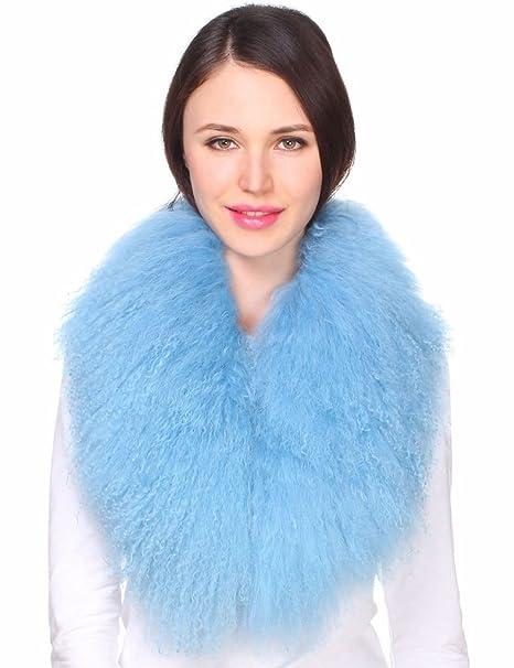 Ferand - Bufanda de Lujo Cuello de Piel de Lana de Cordero de Mongolia Auténtica para Ropa de Abrigo de Mujer Azul Claro: Amazon.es: Ropa y accesorios