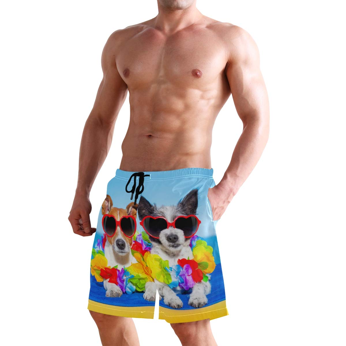 Mens Beach Swim Trunks Summer Dogs in Love Boxer Swimsuit Underwear Board Shorts with Pocket