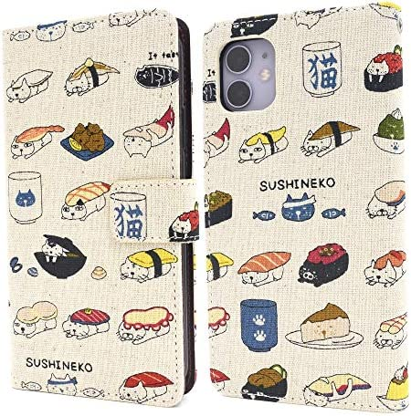 PLATA iPhone 11 ケース 手帳型 日本製 生地 使用! 寿司 猫 シュール で かわいい ネコ 麻 生地 手帳型ケ