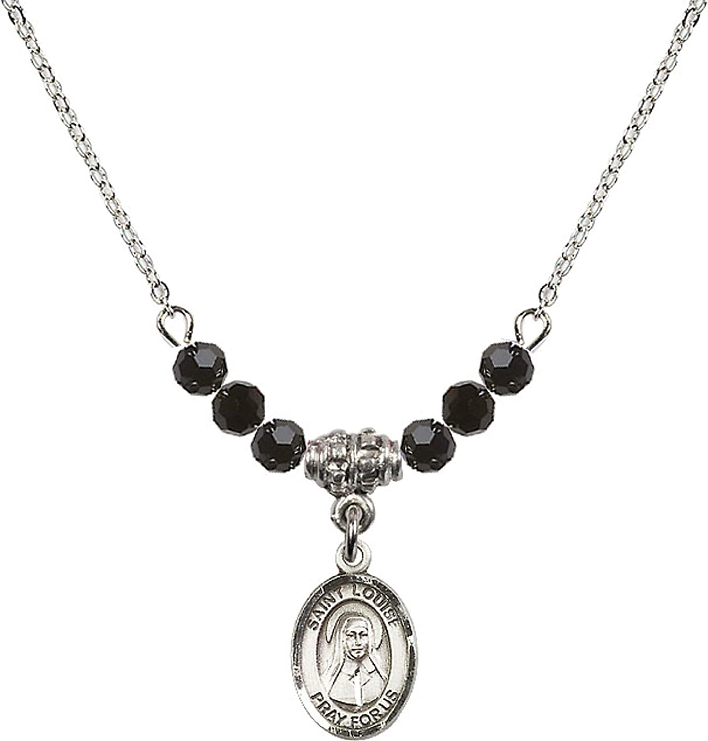 Bonyak Jewelry 18 Inch Rhodium Plated Necklace w// 4mm Jet Birth Month Stone Beads and Saint Louise de Marillac Charm