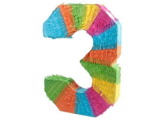 Alsino Piñata Multicolor | Forma de número 3 | para la Fiesta de Cumpleaños | Entretenimiento Niños, Piñata número 3