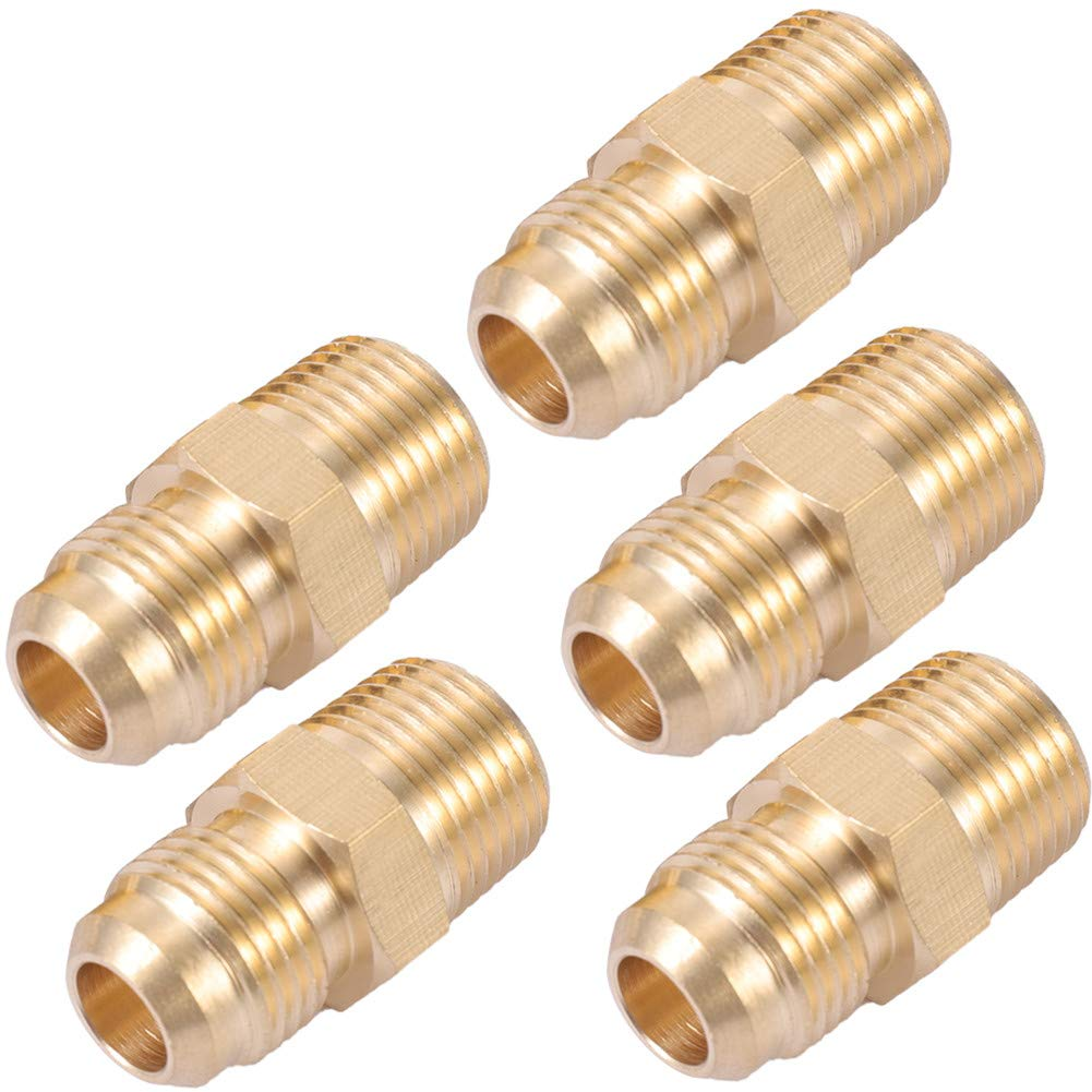 Brass Tube Fitting,3//8 Flare x 3//8 Male Pipe Connector Half Union Gas Adapter 5, 3//8 Flare x 3//8 NPT Male