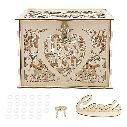 Amazon.com: Wifehelper Caja de tarjetas de boda, caja de ...