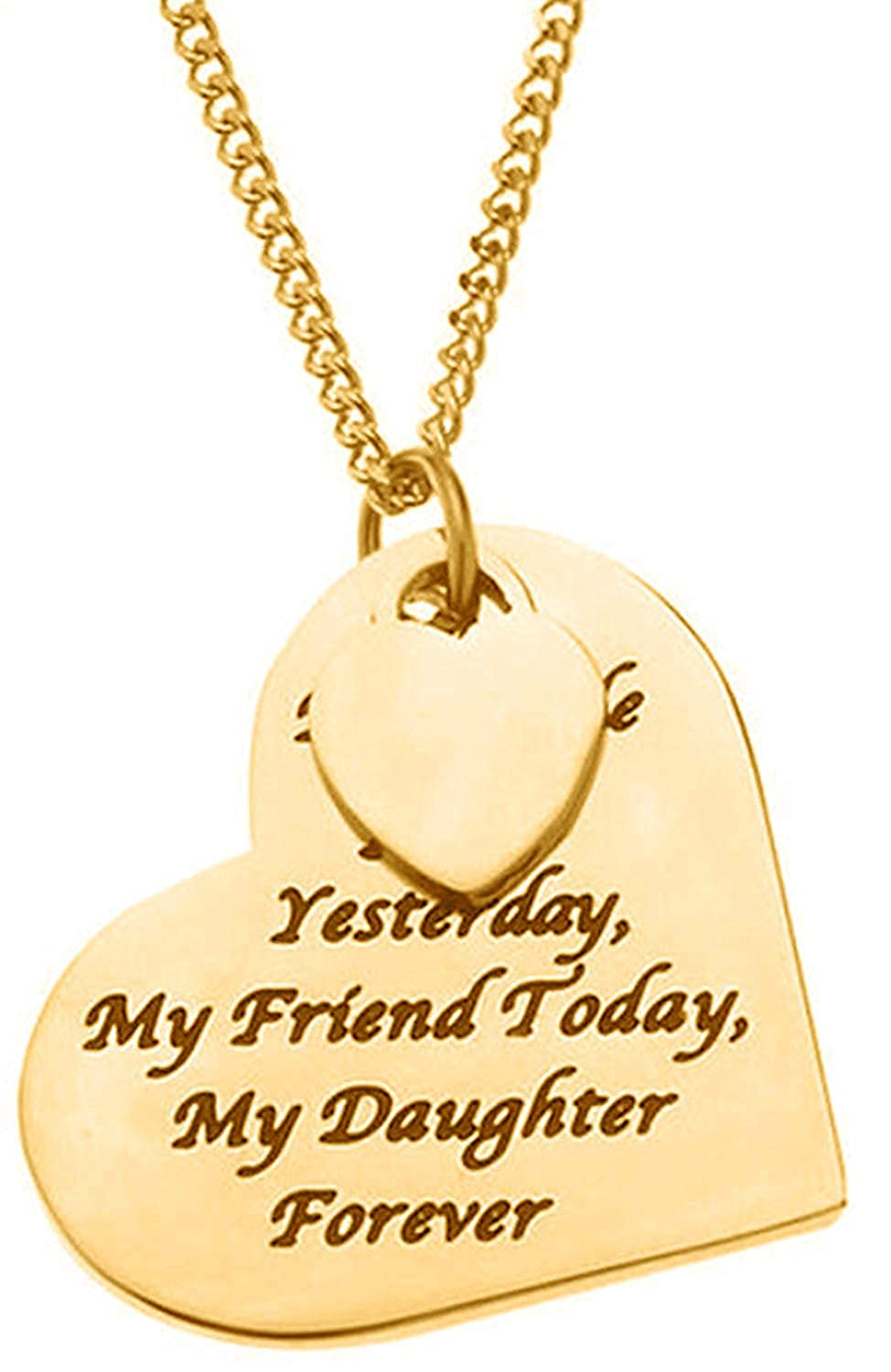 My Little Girl Yesterday My Friend Today My Daughter Forever Heart Pendant Necklace for Women /& Teens Dad GGG Boutique SET-1