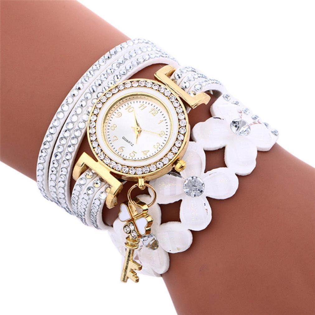 Yesmile Relojes❤️Reloj de Pulsera de Mujer con Diamantes de Campanas de Moda Reloj de Mujer con Diamantes de Lady Womans Fulaida (Blanco)