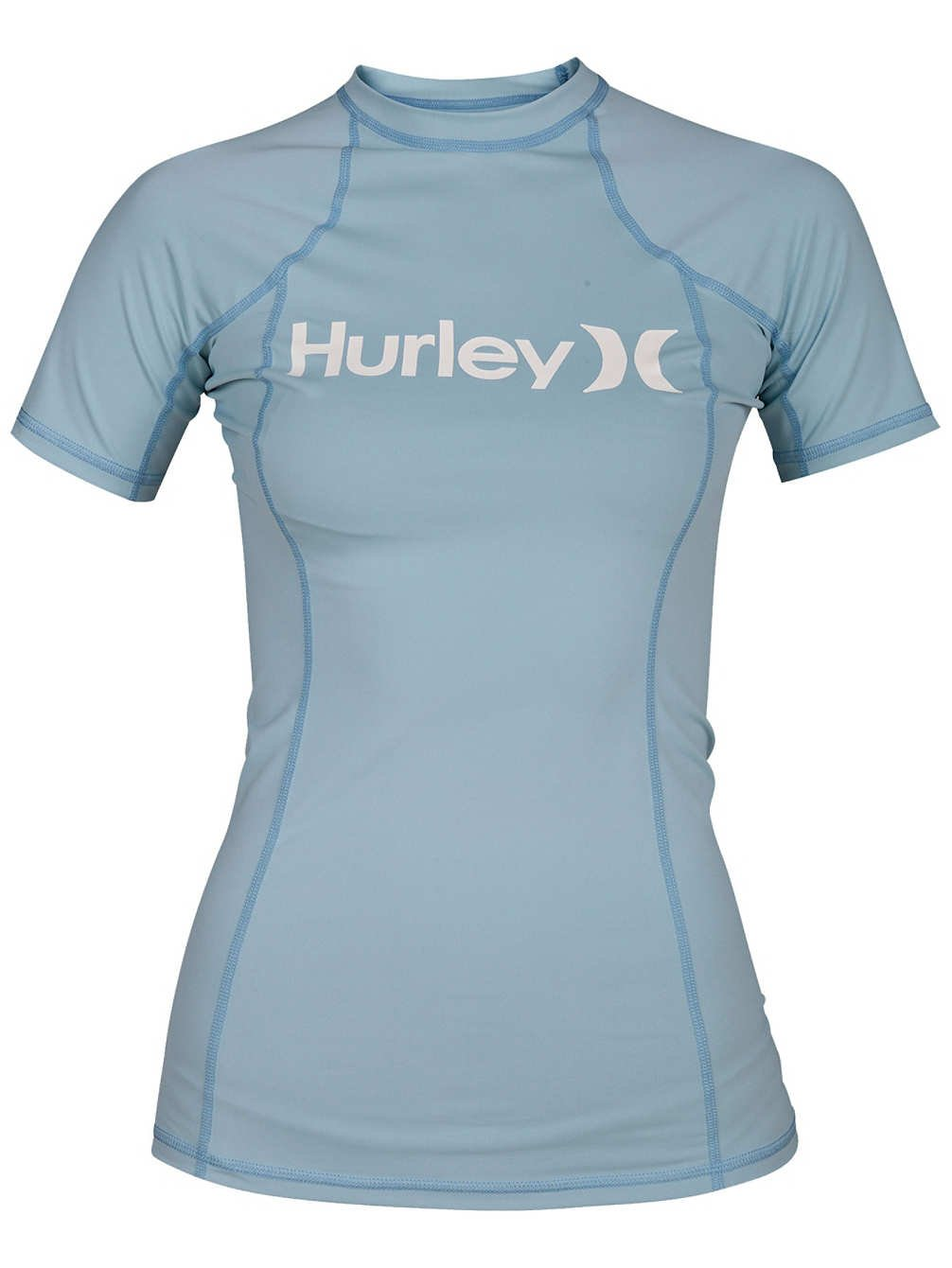 Hurley Women's One and Only SS Rash Guard - Ocean Bliss - M