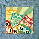 SeptSonne sports towel Bingo Game with Ball and Cards Pop Art Stylized Lottery Hobby Celebration Theme Fast Drying, Antibacterial W13.8 x W13.8 INCH