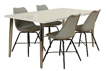 Esszimmer weiß grau  Dynamic24 5tlg Essgruppe Esstisch 90x160 Esszimmer Stuhl Stühle ...